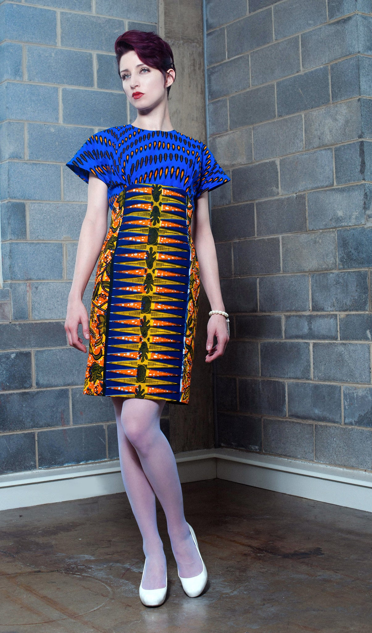 Mixed print Blue and Yellow Print dress
