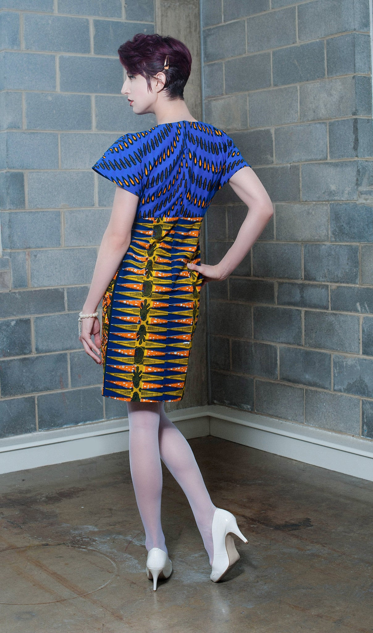 Mixed print Blue Orange and yellow capped sleeve dress