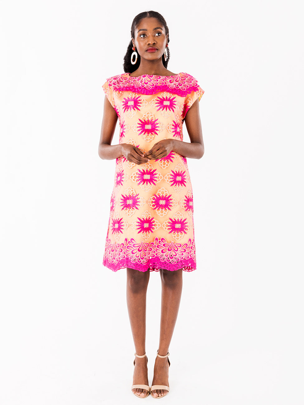 Davina Pink African Lace Dress III - NeoBantu