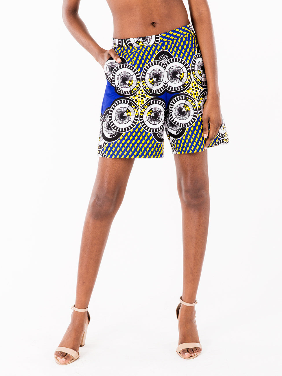 Blue Printed shorts, summer shorts, multi-ethnic