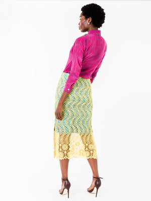 Darcy African Fabric Lace Pencil Skirt II - NeoBantu