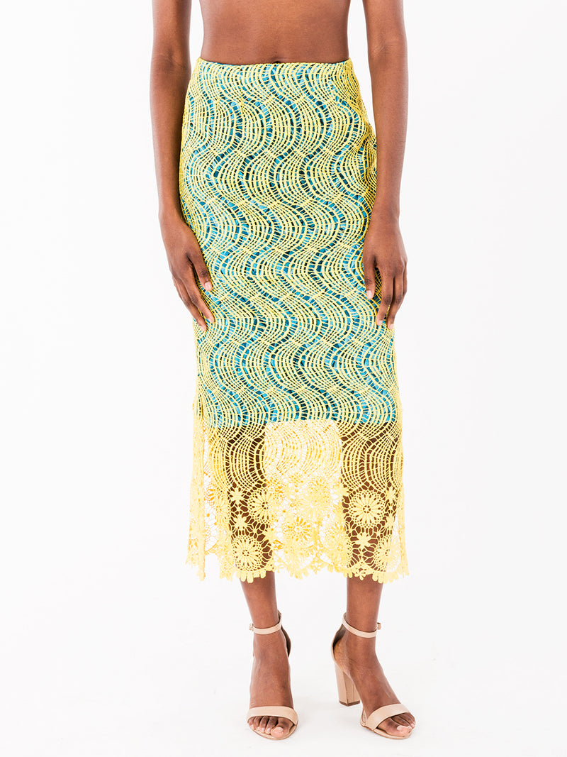 Yellow Blue Lace Pencil Skirt