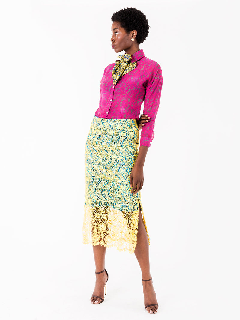 Darcy African Lace Pencil Skirt II - NeoBantu