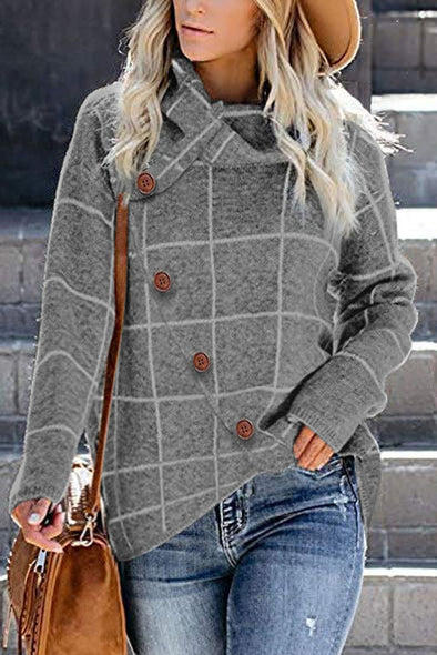 Women's Sweaters Button Wrap Turtleneck Pullover Plaid Print Knit Sweaters