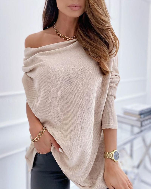 Apricot Women's Sweaters One Shoulder Long Sleeve Solid Sweater LC272885-18