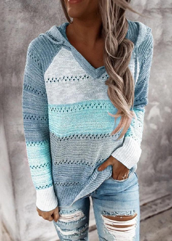Sky Blue Hollow Out Knitted Lightweight Casual Long sleeve Hoodie LC272916-4