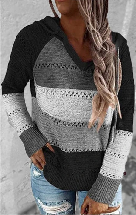 Black Hollow Out Knitted Lightweight Casual Long sleeve Hoodie LC272916-2