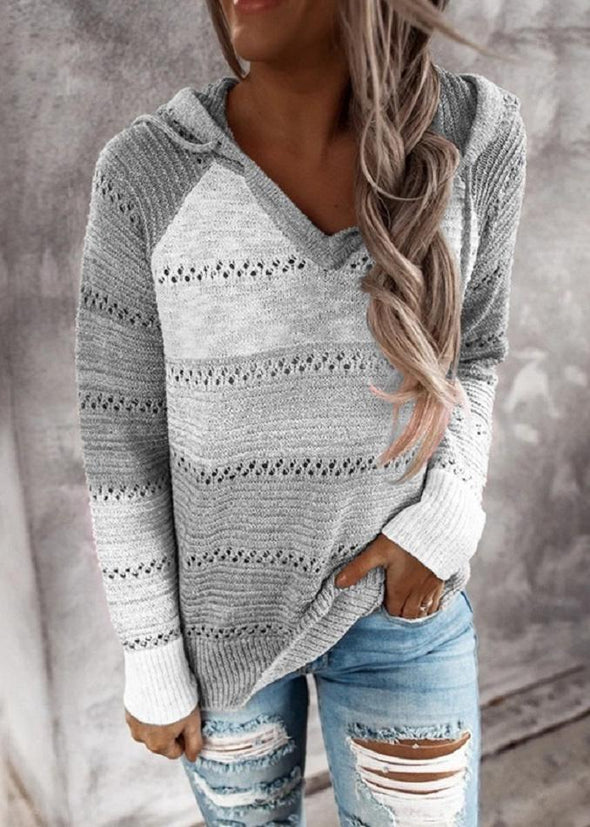 Gray Hollow Out Knitted Lightweight Casual Long sleeve Hoodie LC272916-11