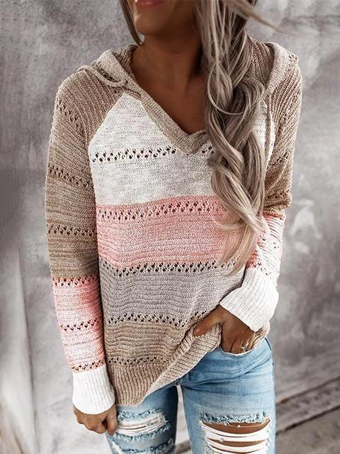 Pink Hollow Out Knitted Lightweight Casual Long sleeve Hoodie LC272916-10