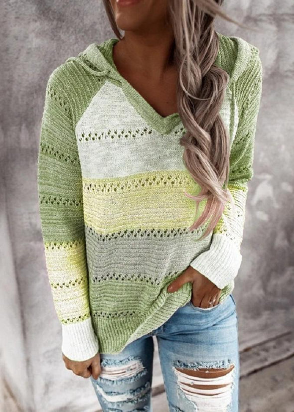 Green Hollow Out Knitted Lightweight Casual Long sleeve Hoodie LC272916-9