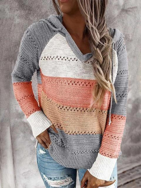 Orange Hollow Out Knitted Lightweight Casual Long sleeve Hoodie LC272916-14