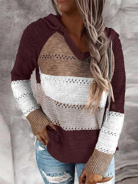 Red Hollow Out Knitted Lightweight Casual Long sleeve Hoodie LC272916-3