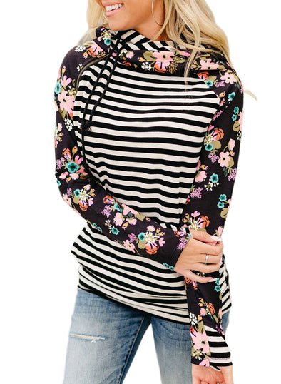 Black Floral-Print Paneled Striped Pocket Hoodie LC2532708-2