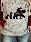 Gray Women's Hoodies MAMA Bear Printed Plaid Pocketed Sweatshirt LC2534497-11