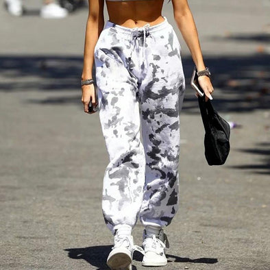 White Autumn fashion trendy camouflage color black and white pattern casual sports pants women LC771040-1