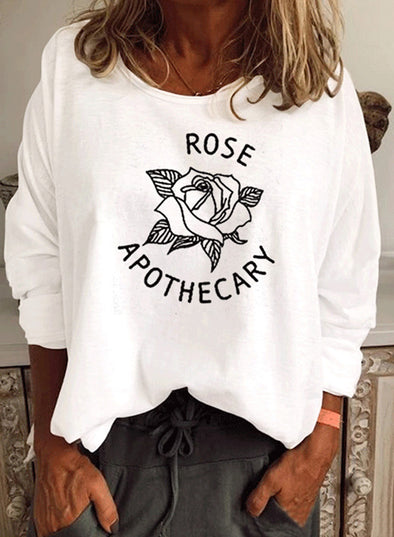 White Women's Sweatshirts Solid Fruits&Plants Letter Long Sleeve Round Neck Sweatshirt LC2514089-1
