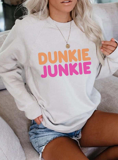 White Women's Sweatshirts Letter Print Color Block Long Sleeve Round Neck Sweatshirt LC2534891-1