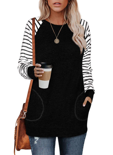 Black Striped Sleeve Round Neck Knitted Sweatshirts With Pockets LC2533970-2
