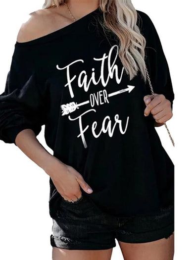 Black Women's Faith Over Fear Print Sweatshirt LC2514205-2