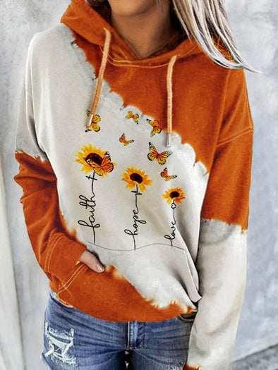 Yellow Women's Faith Hope Love Sunflower Print Sweatshirt LC2535017-7