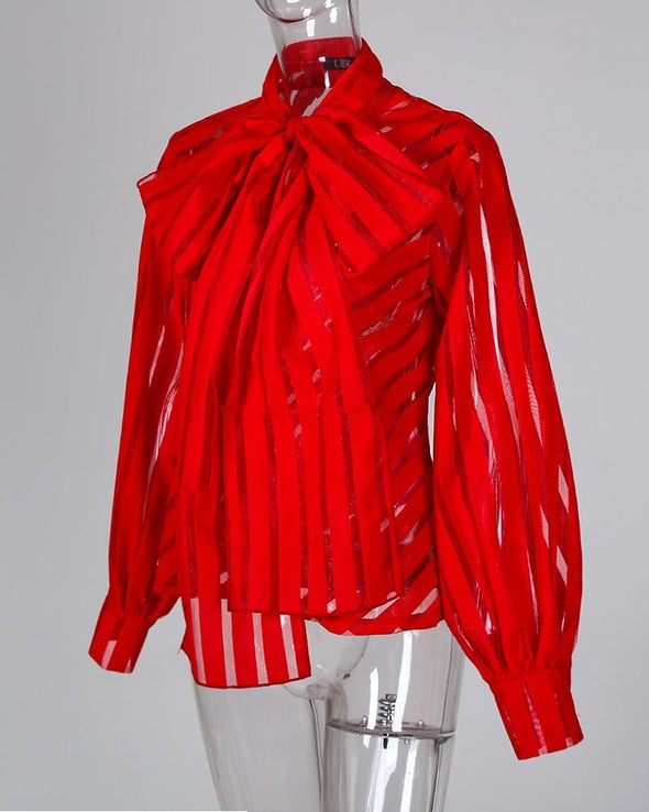 Red Mesh Striped See Through Lantern Sleeve Blouse LC255510-3