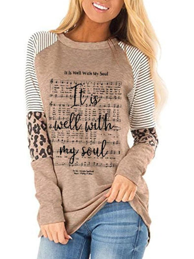 Khaki Ladies It is well with my soul English letter printed T-shirt LC2514207-16