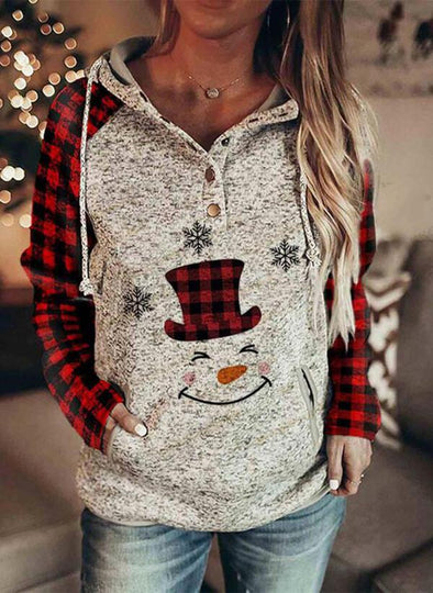Red Print Grid Long Sleeves Christmas Sweatshirt LC2514221-3