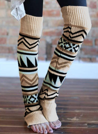 Khaki Women's Socks Winter Geometric Thigh-High Leg Warmers Socks LC09101-16
