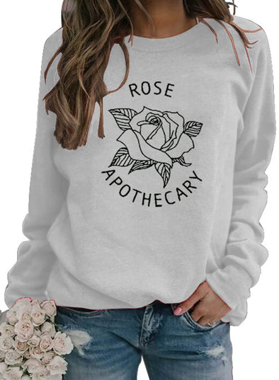 White Women's Sweatshirts Letter Fruits&Plants Print Long Sleeve Round Neck Sweatshirt LC2534910-1