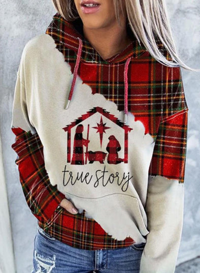 Red Women's Hoodies Drawstring Long Sleeve Color Block Plaid Hoodies LC2534959-3
