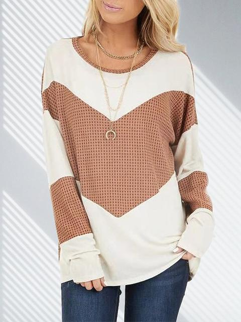 Khaki Contrast Color Long Sleeve Casual Tops LC272965-16