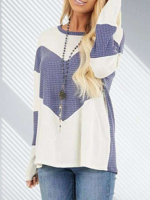 Blue Contrast Color Long Sleeve Casual Tops LC272965-5