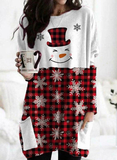 Red Women's Sweatshirts Christmas Plaid Snow&Snowman Print Long Sleeve Round Neck Sweatshirt LC2514189-3
