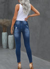 Blue Cut-out Mid Waist Leopard Women Slim Jeans LC78194-5