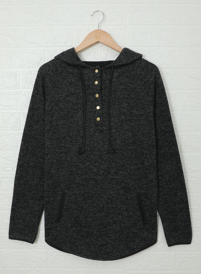 Black Pocket Design Buttoned Casual Hoodie LC2532487-2