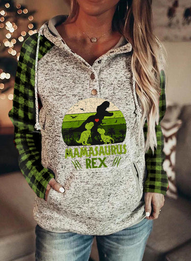 Gray Women's Hoodies Drawstring Long Sleeve Plaid Dinosaur Hoodies With Pockets LC2535093-11