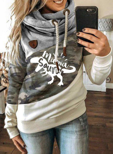 Gray Women's Hoodies Christmas Drawstring Long Sleeve Leopard Camouflage Color Block Hoodies LC2535097-11