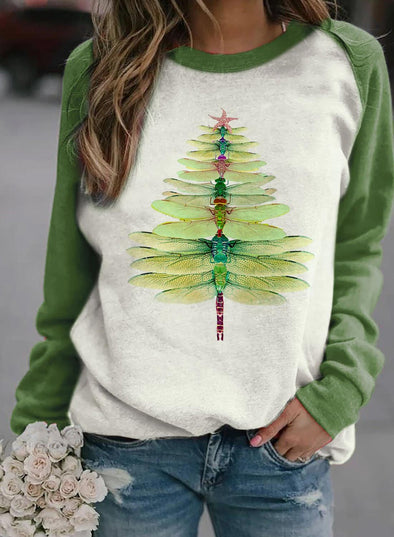 Green Women's Sweatshirts Christmas Round Neck Long Sleeve Color Block Sweatshirts LC2535101-9