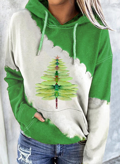 Green Women's Hoodies Christmas Drawstring Long Sleeve Color Block Hoodies With Pockets LC2535102-9