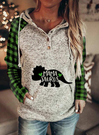 Green Women's Hoodies Christmas Drawstring Long Sleeve Plaid Hoodies With Pockets LC2535111-9