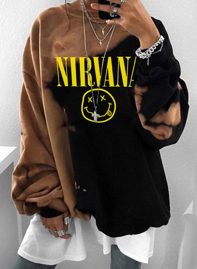 Brown Women's Sweatshirts Round Neck Long Sleeve Color Block Letter Sweatshirts LC2535124-17