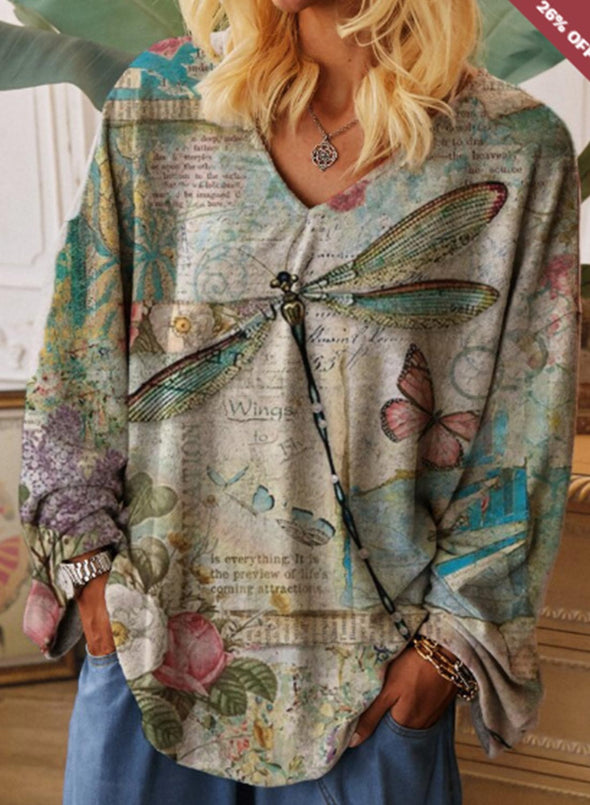 Green Women's Sweatshirts Dragonfly Fruits&Plants Print Loose Long Sleeve V Neck Sweatshirt LC2514380-9