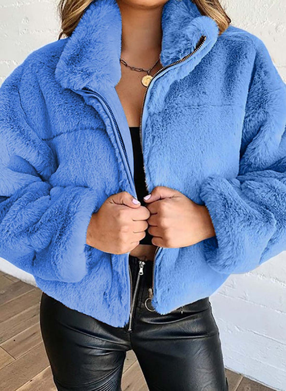 Sky Blue Women's Coats Warm Solid Plush Cotton Long Sleeve Stand Neck Coat LC8511141-4