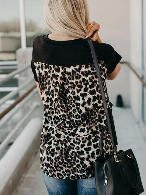 Black Short Sleeve Leopard Printed Splicing T-Shirt LC2522500-2