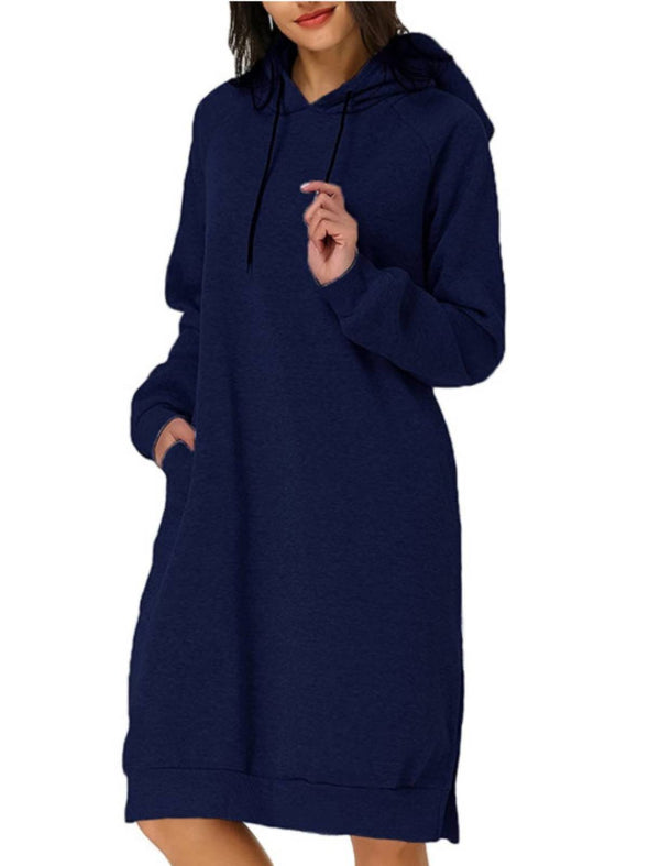 Blue Long Sleeve Casual Hoodie Dresses LC223830-5