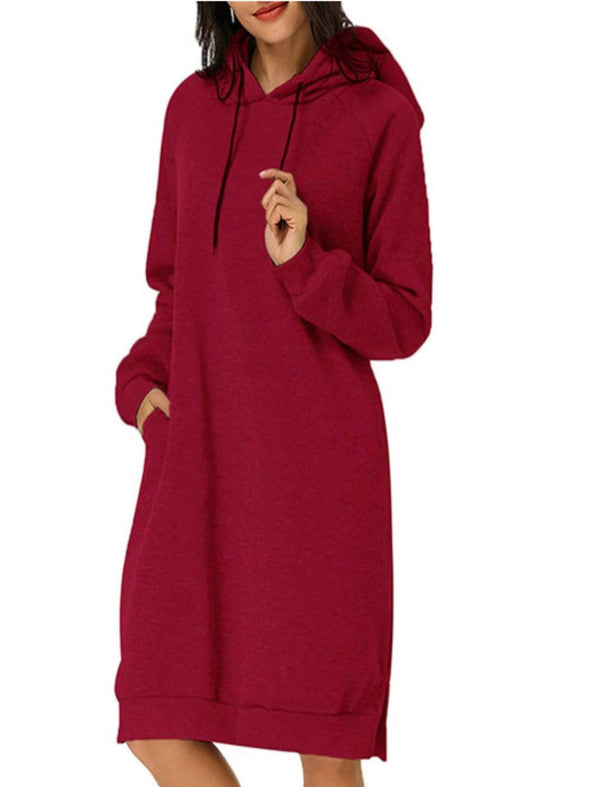 Red Long Sleeve Casual Hoodie Dresses LC223830-3