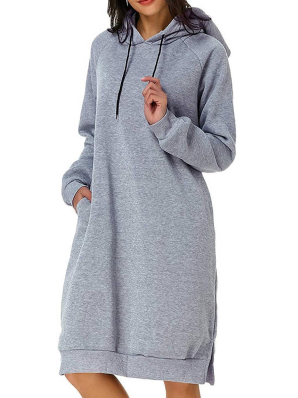 Gray Long Sleeve Casual Hoodie Dresses LC223830-1011