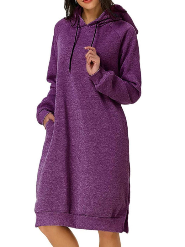 Purple Long Sleeve Casual Hoodie Dresses LC223830-8