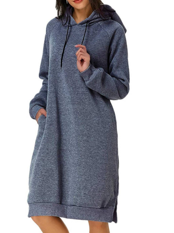 Gray Long Sleeve Casual Hoodie Dresses LC223830-11