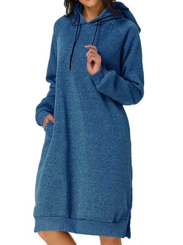 Sky Blue Long Sleeve Casual Hoodie Dresses LC223830-4